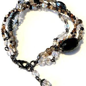 Oxidized Metal Beaded Gemstone Bracelet